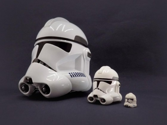 Master Replicas - Clone Trooper Helmet Scale 1:45, Bandai Replic Serie 2 Scale 1:6, Lego Clone Trooper Helmet